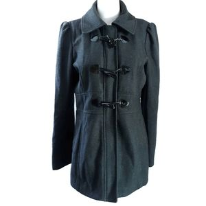 Guess | Black Wool Peacoat Coat Jacket size L